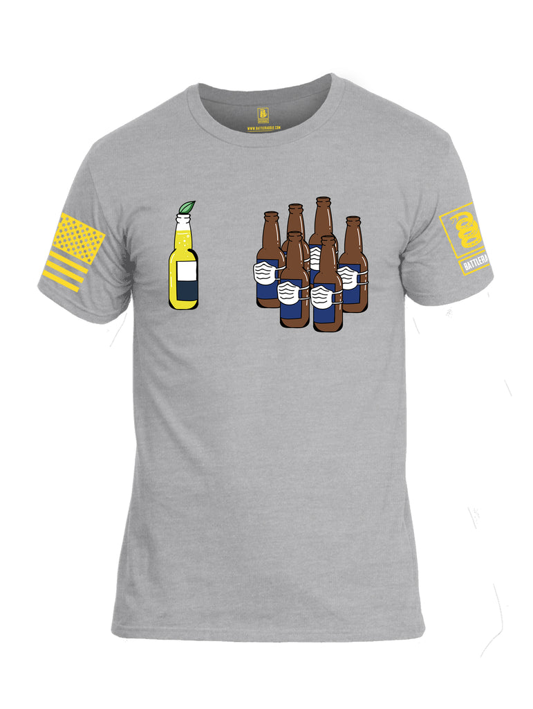 Battleraddle Corona Vs Beer Yellow Sleeve Print Mens Cotton Crew Neck T Shirt