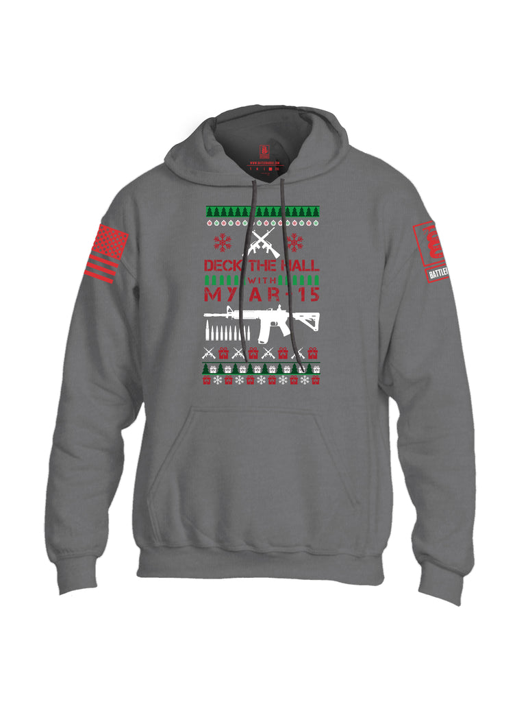 Battleraddle Deck The Hall With My AR15 Christmas Holiday Ugly Red Sleeve Print Mens Blended Hoodie With Pockets