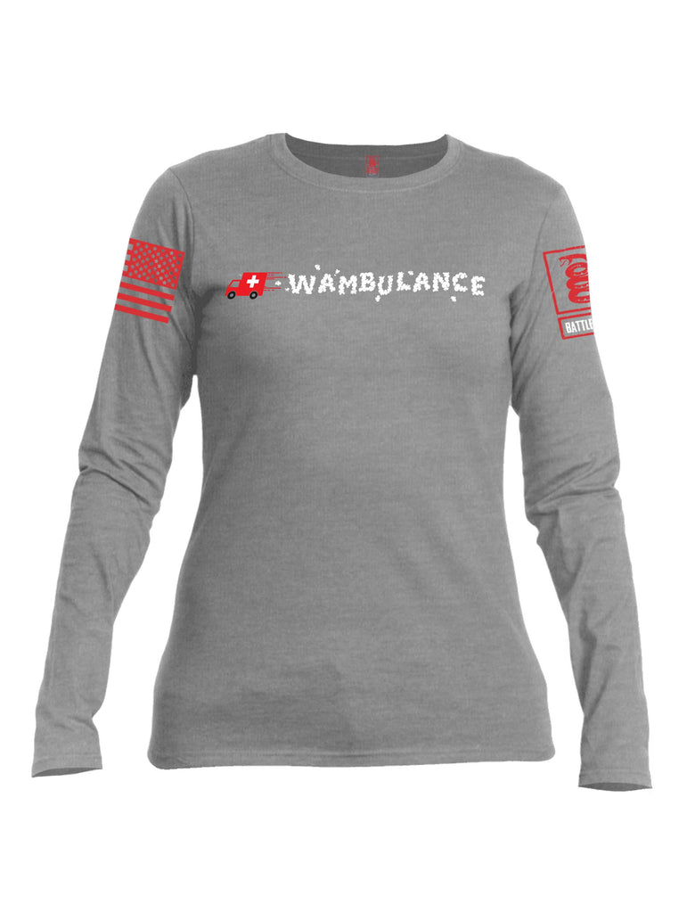 Battleraddle Wambulance Red Sleeve Print Womens Cotton Long Sleeve Crew Neck T Shirt