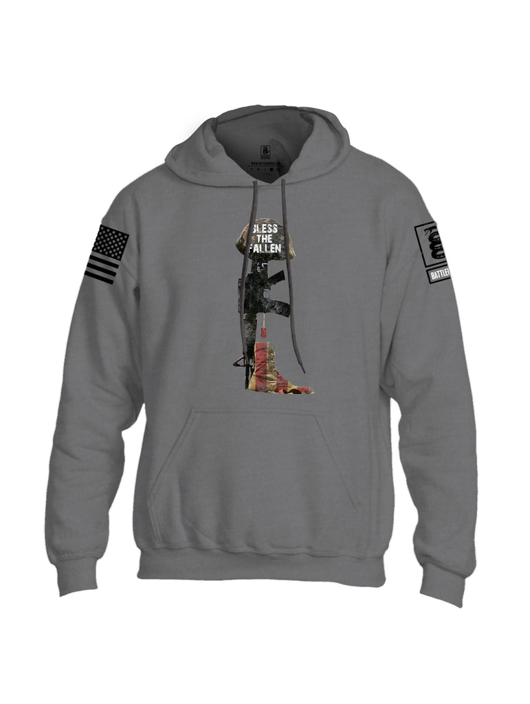 Battleraddle Bless The Fallen Black Sleeve Print Mens Blended Hoodie With Pockets