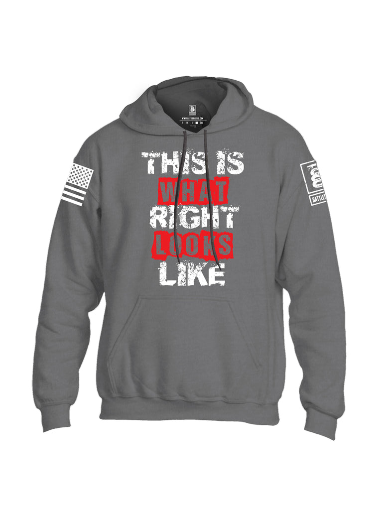 Battleraddle This Is What Right Looks Like White Sleeve Print Mens Blended Hoodie With Pockets