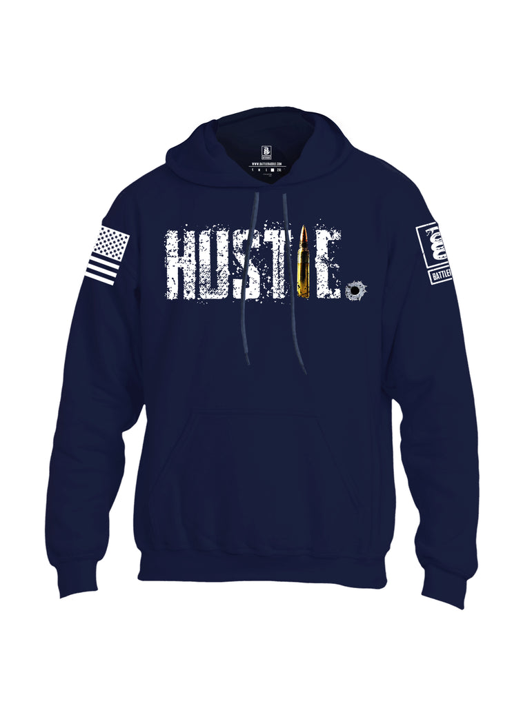 Battleraddle Battleraddle Hustle White Sleeve Print Mens Blended Hoodie With Pockets