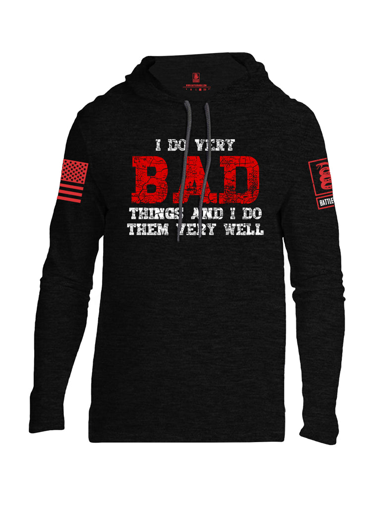 Battleraddle I Do Very Bad Things And I Do Them Very Well Red Sleeve Print Mens Thin Cotton Lightweight Hoodie