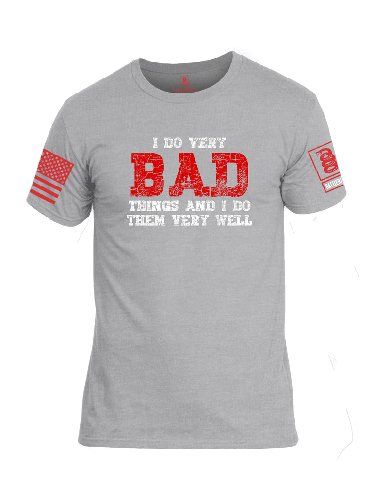 Battleraddle I Do Very Bad Things And I Do Them Very Well Red Sleeve Print Mens Cotton Crew Neck T Shirt