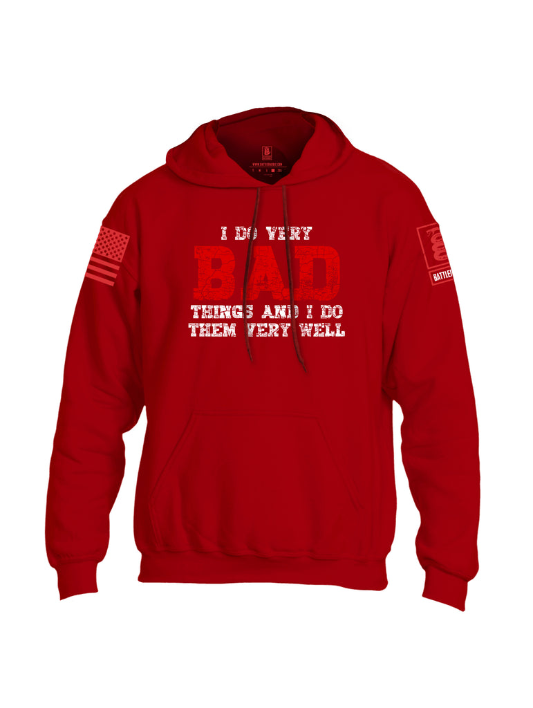 Battleraddle I Do Very Bad Things And I Do Them Very Well Red Sleeve Print Mens Blended Hoodie With Pockets