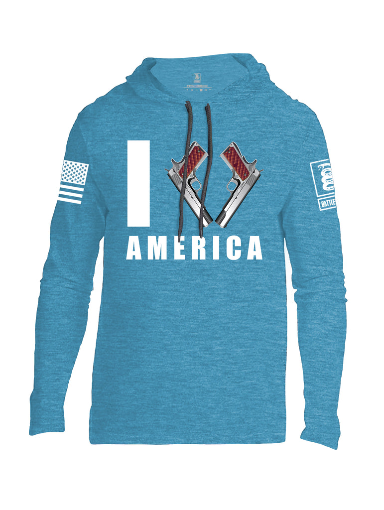 Battleraddle I Love America White Sleeve Print Mens Thin Cotton Lightweight Hoodie