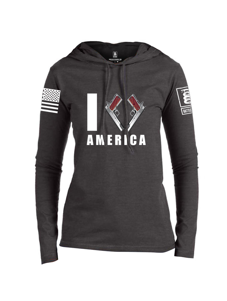 Battleraddle I Love America White Sleeve Print Womens Thin Cotton Lightweight Hoodie