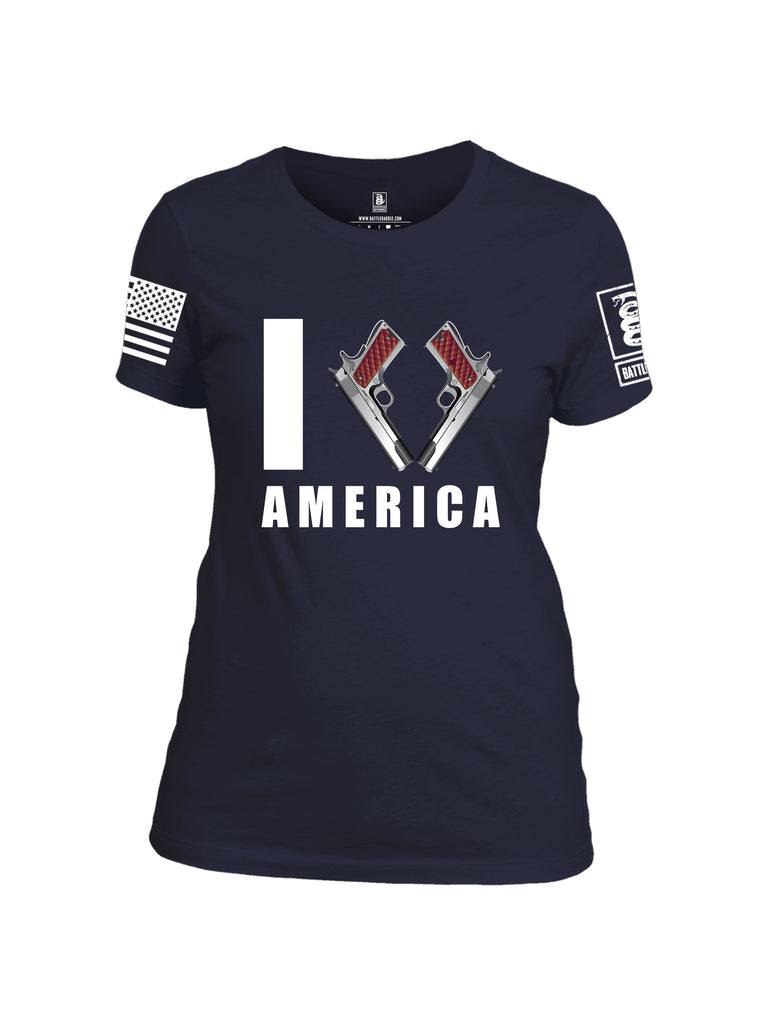 Battleraddle I Love America White Sleeve Print Womens Cotton Crew Neck T Shirt