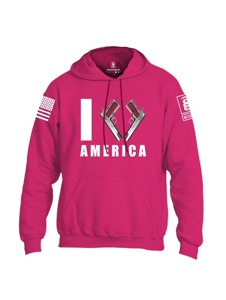 Battleraddle I Love America White Sleeve Print Mens Blended Hoodie With Pockets