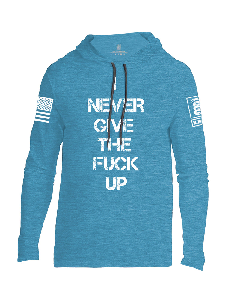 Battleraddle I Never Give The Fuck Up White Sleeve Print Mens Thin Cotton Lightweight Hoodie