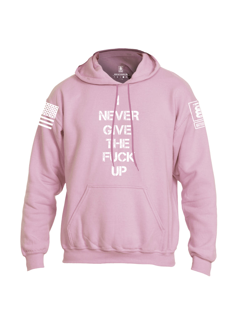 Battleraddle I Never Give The Fuck Up White Sleeve Print Mens Blended Hoodie With Pockets