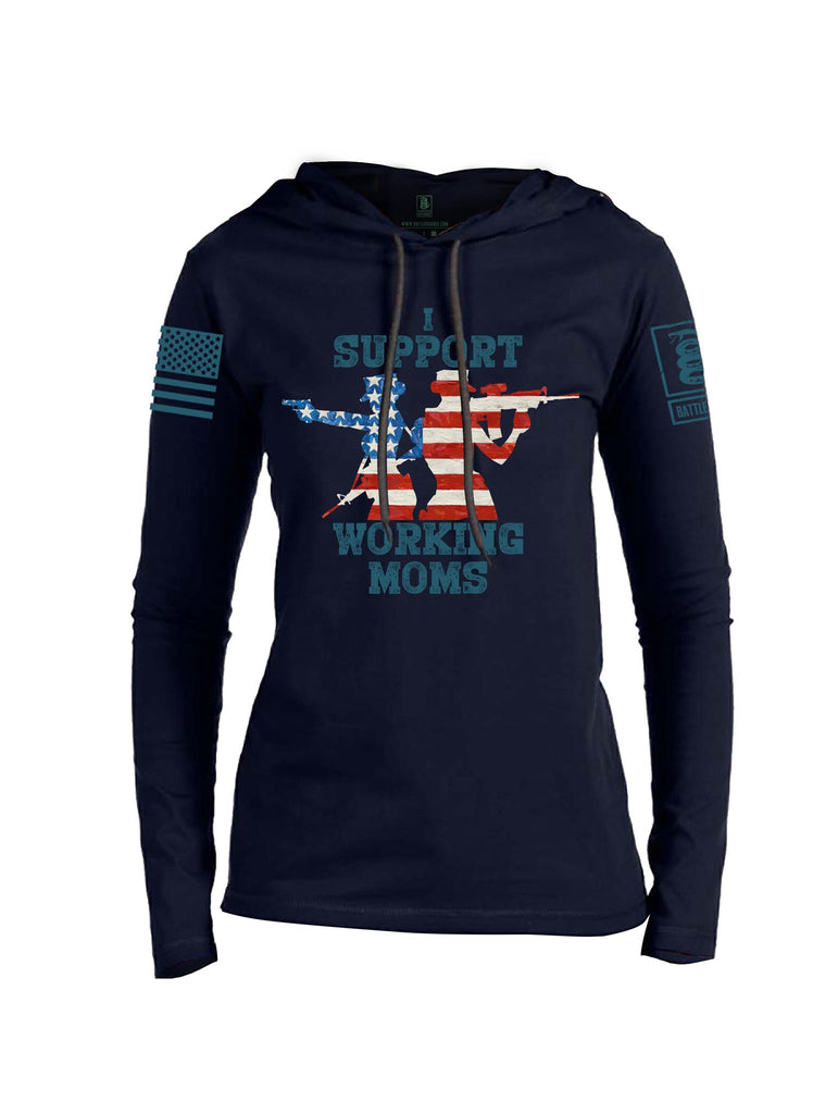 Battleraddle I Support Working Moms Blue Sleeve Print Womens Thin Cotton Lightweight Hoodie