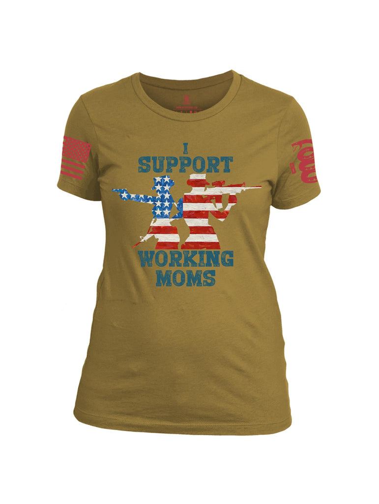 Battleraddle I Support Working Moms Red Sleeve Print Womens Cotton Crew Neck T Shirt