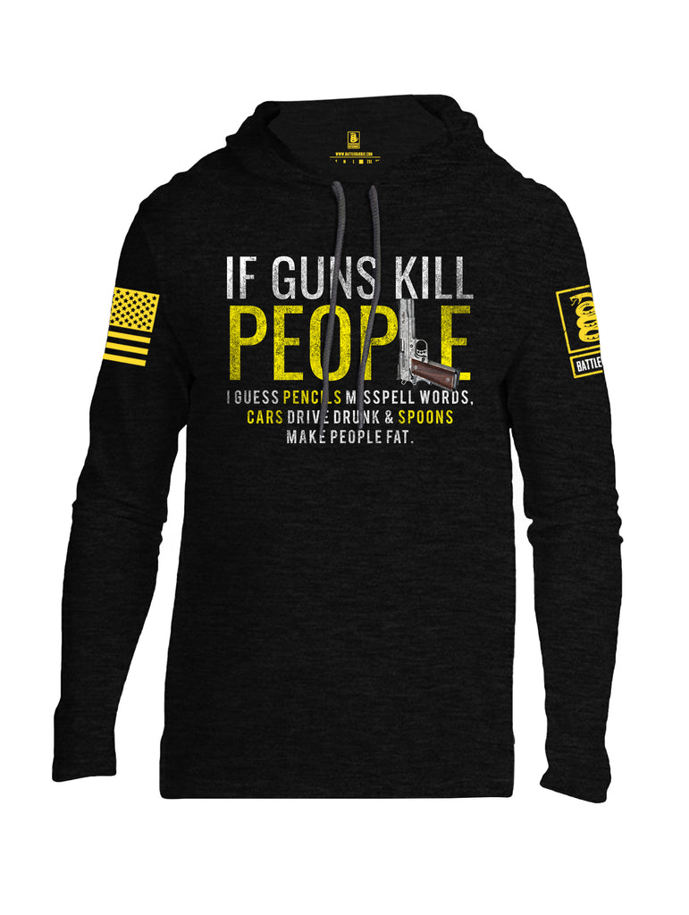 Battleraddle If Guns Kill People Yellow Sleeve Print Mens Thin Cotton Lightweight Hoodie