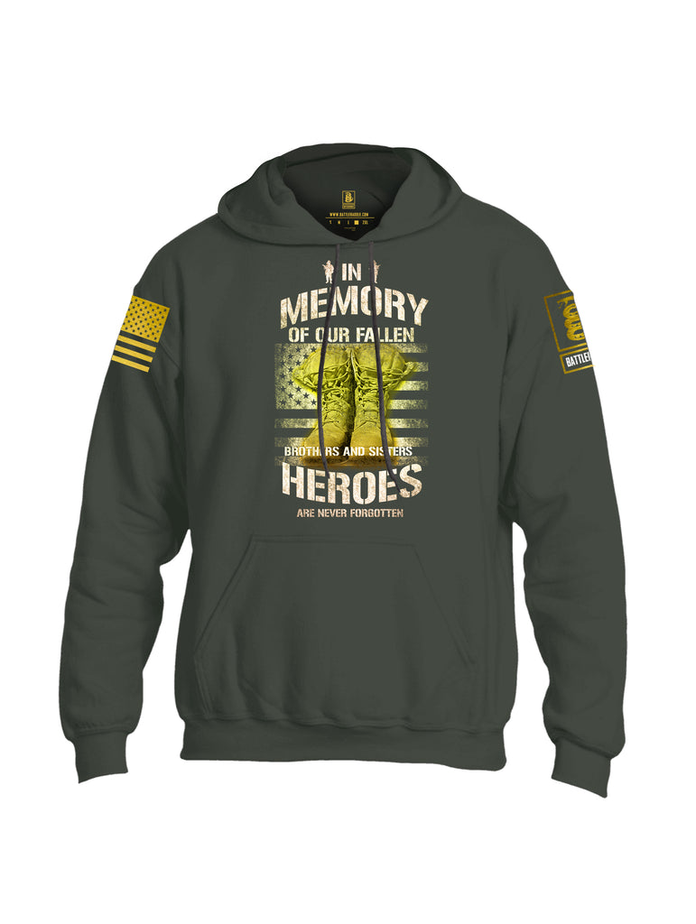 Battleraddle In Memory Of Our Fallen Brothers And Sisters Heroes Are Never Forgotten Brass Sleeve Print Mens Blended Hoodie With Pockets