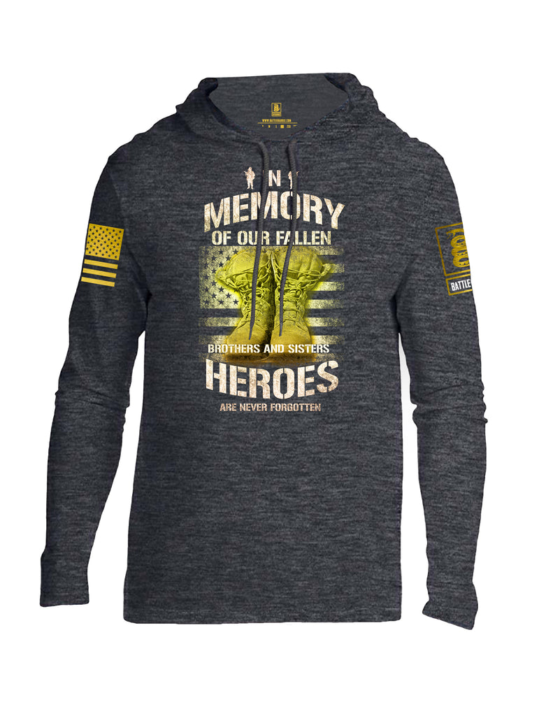 Battleraddle In Memory Of Our Fallen Brothers And Sisters Heroes Are Never Forgotten Brass Sleeve Print Mens Thin Cotton Lightweight Hoodie