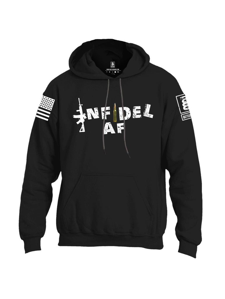 Battleraddle Infidel AF White Sleeve Print Mens Blended Hoodie With Pockets