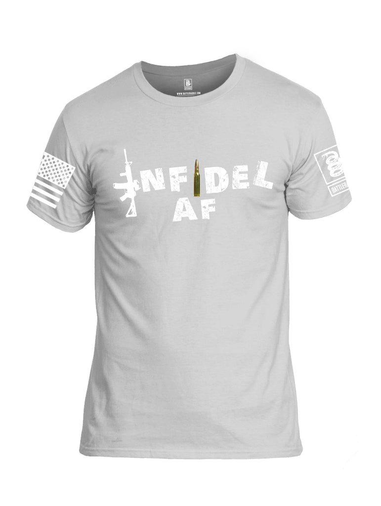 Battleraddle Infidel AF White Sleeve Print Mens Cotton Crew Neck T Shirt