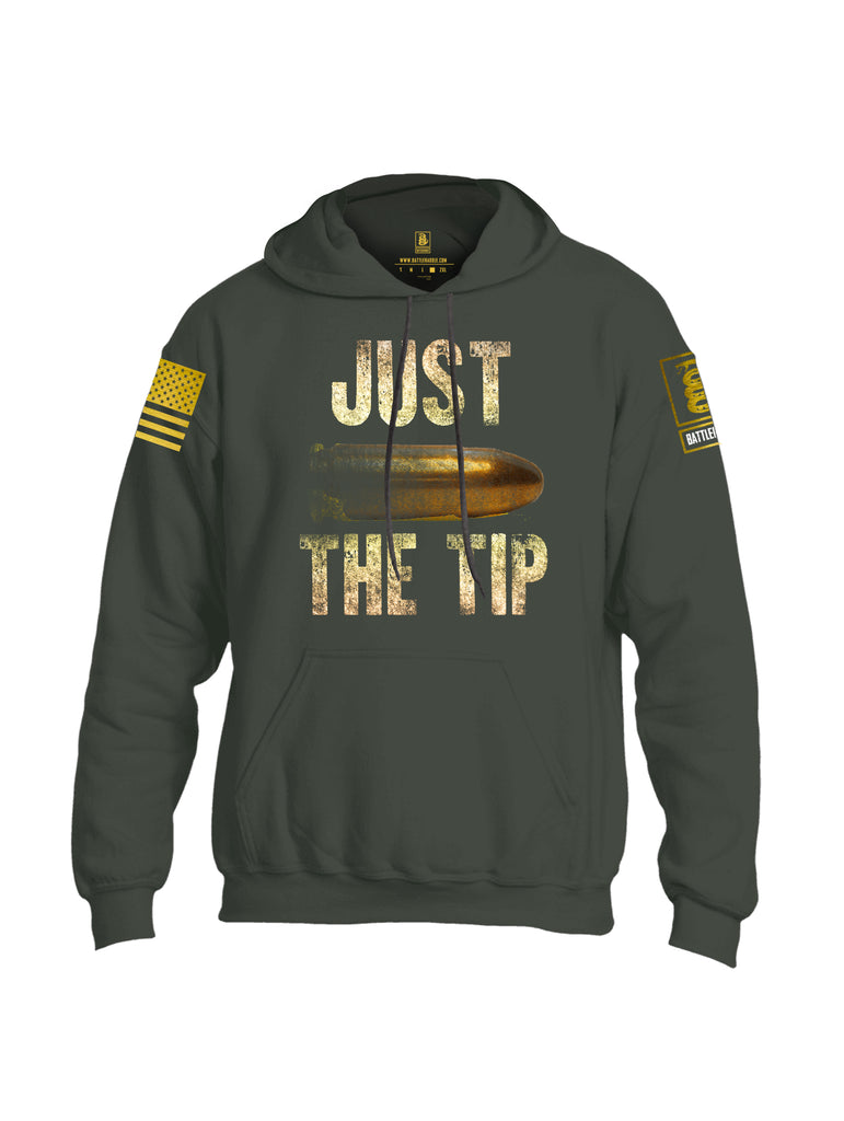 Battleraddle Just The Tip Big Bullet Brass Sleeve Print Mens Blended Hoodie With Pockets