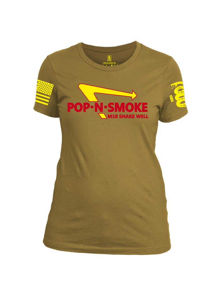 Battleraddle Pop-N-Smoke M18 Shake Well Yellow Sleeve Print Womens Cotton Crew Neck T Shirt