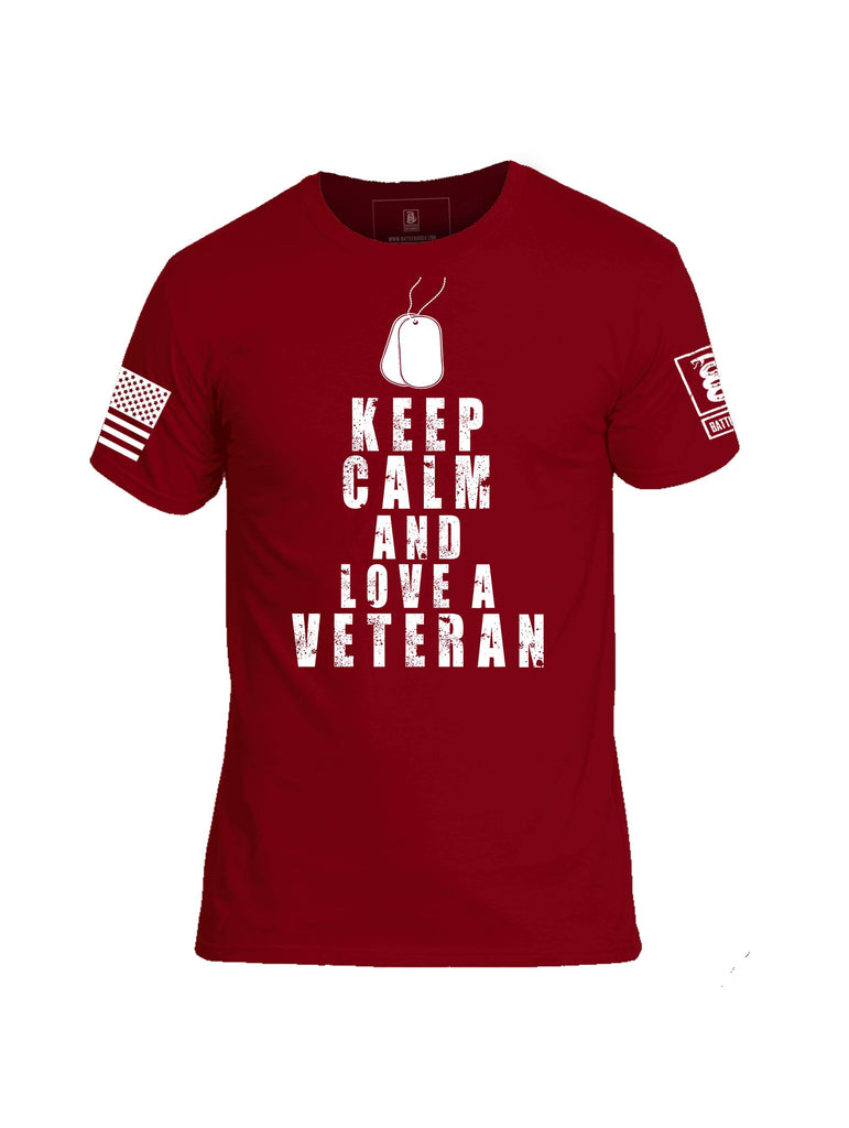 Battleraddle Keep Calm And Love A Veteran White Sleeve Print Mens Cotton Crew Neck T Shirt