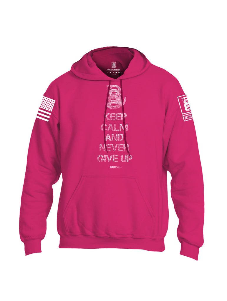 Battleraddle Keep Calm And Never Give Up White Sleeve Print Mens Blended Hoodie With Pockets