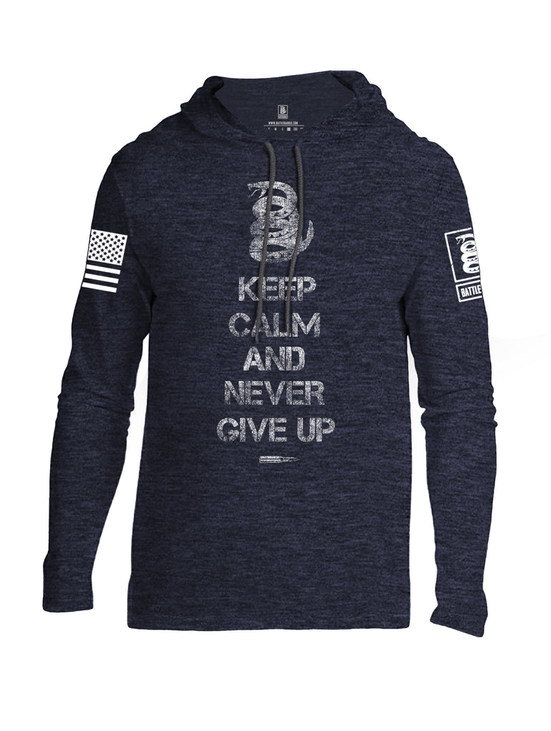 Battleraddle Keep Calm And Never Give Up White Sleeve Print Mens Thin Cotton Lightweight Hoodie