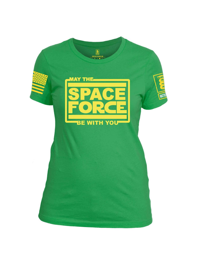 Battleraddle May The Space Force Be With You Yellow Sleeve Print Womens Cotton Crew Neck T Shirt shirt|custom|veterans|Apparel-Womens T Shirt-cotton
