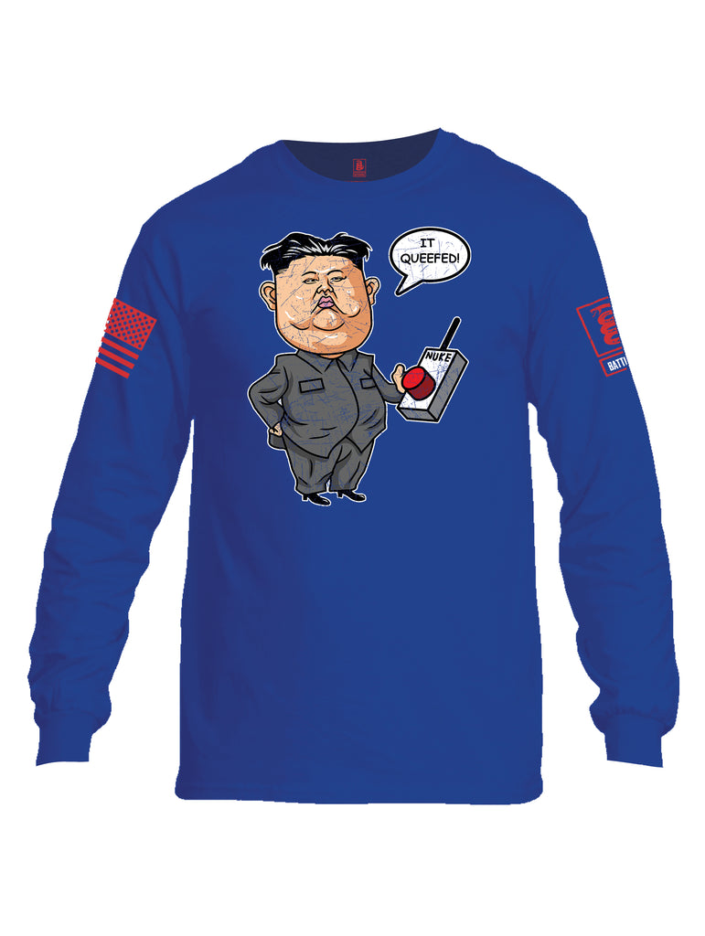 Battleraddle Kim Jong un Nuke Button it Queefed Red Sleeve Print Mens Cotton Long Sleeve Crew Neck T Shirt