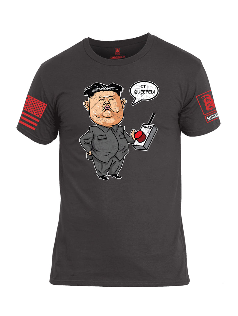 Battleraddle Kim Jong un Nuke Button it Queefed Red Sleeve Print Mens Cotton Crew Neck T Shirt