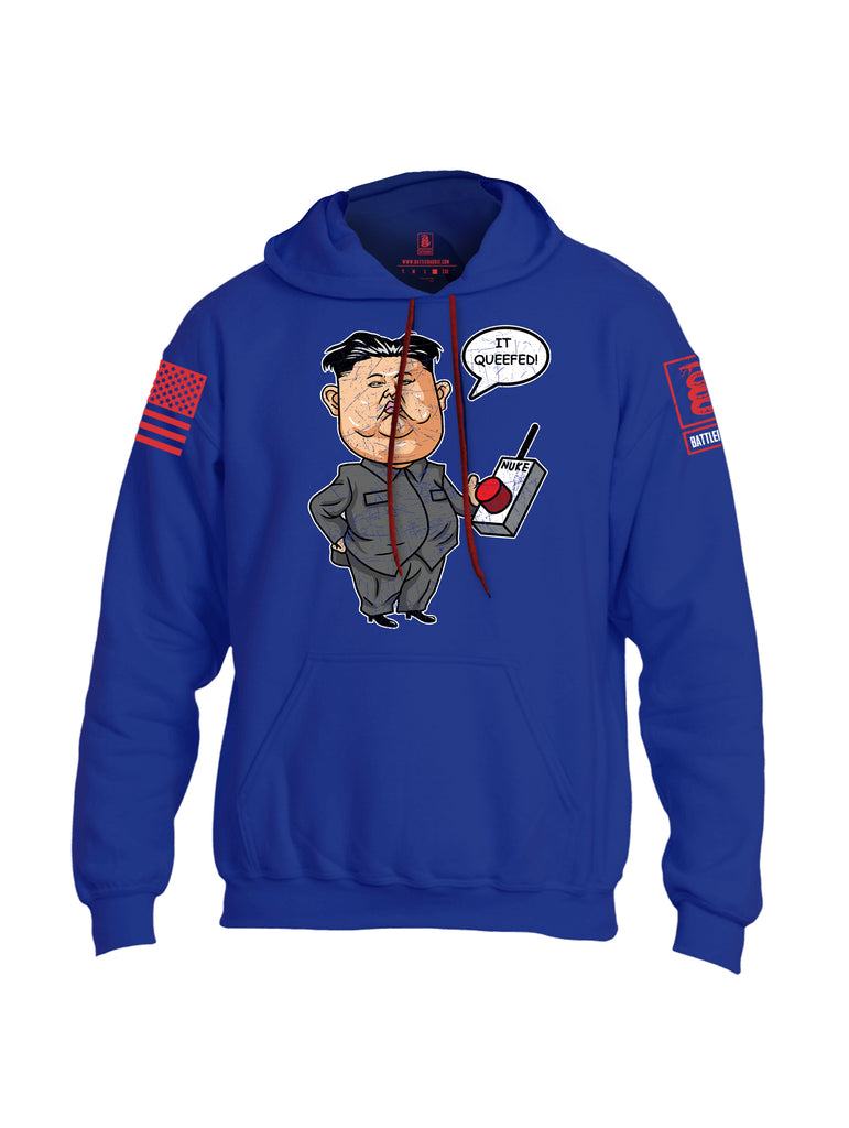 Battleraddle Kim Jong un Nuke Button it Queefed Red Sleeve Print Mens Blended Hoodie With Pockets