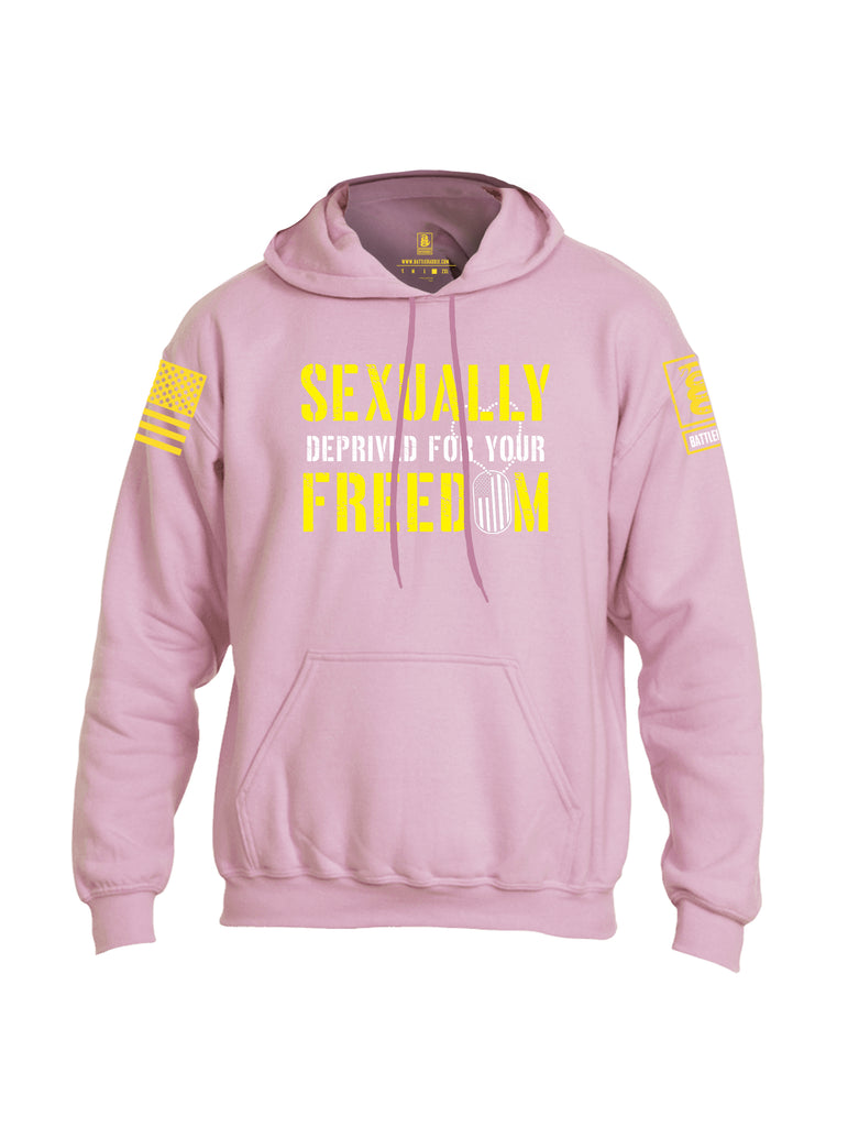 Battleraddle Sexually Deprived For Your Freedom Yellow Sleeve Print Mens Blended Hoodie With Pockets