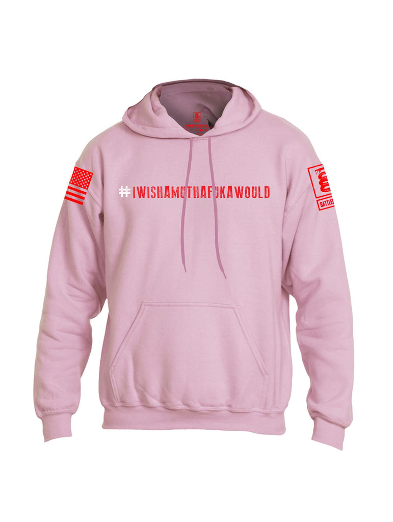 Battleraddle #IWISHAMUTHAFUKAWOULD Red Sleeve Print Mens Blended Hoodie With Pockets - Battleraddle® LLC