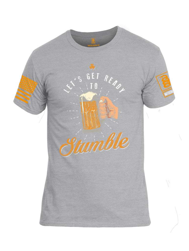 Battleraddle Let's Get Ready To Stumble Orange Sleeve Print Mens Cotton Crew Neck T Shirt