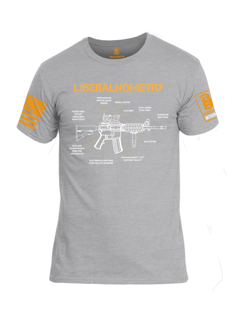Battleraddle Liberalnometry V1 Orange Sleeve Print Mens Cotton Crew Neck T Shirt