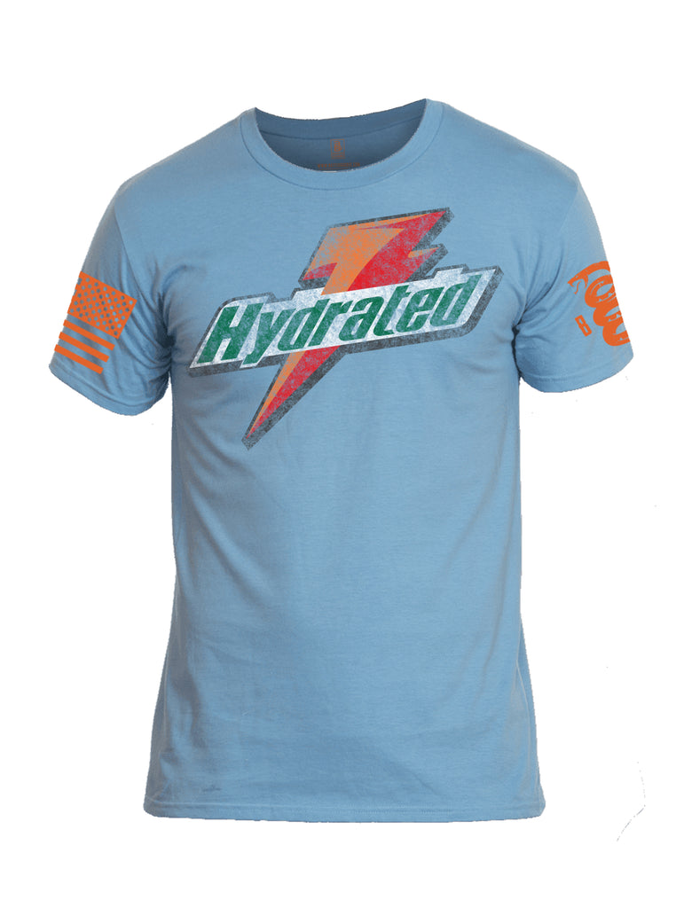 Battleraddle Hydrated Orange Sleeve Print Mens Cotton Crew Neck T Shirt