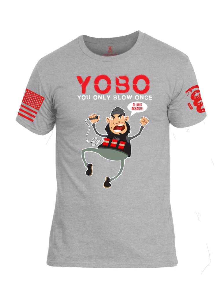 Battleraddle YOBO You Only Blow Once Allahu Akbar Red Sleeve Print Mens Cotton Crew Neck T Shirt