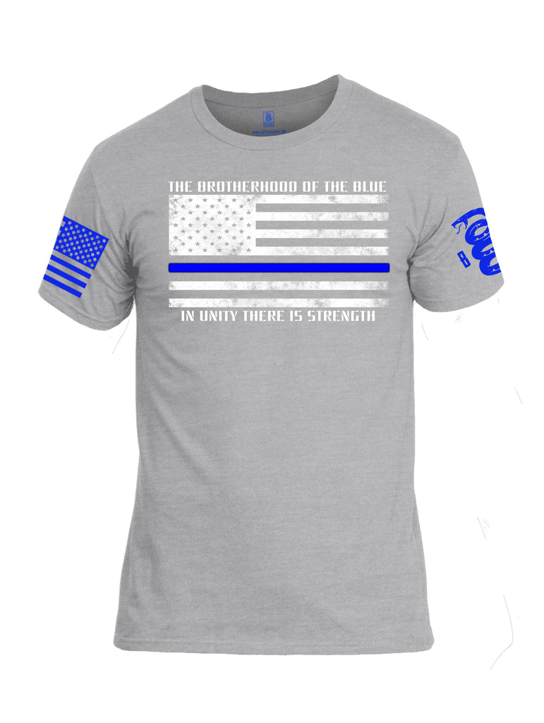 Battleraddle The Brotherhood Of The Blue In Unity There Is Strength Blue Sleeve Print Mens Cotton Crew Neck T Shirt