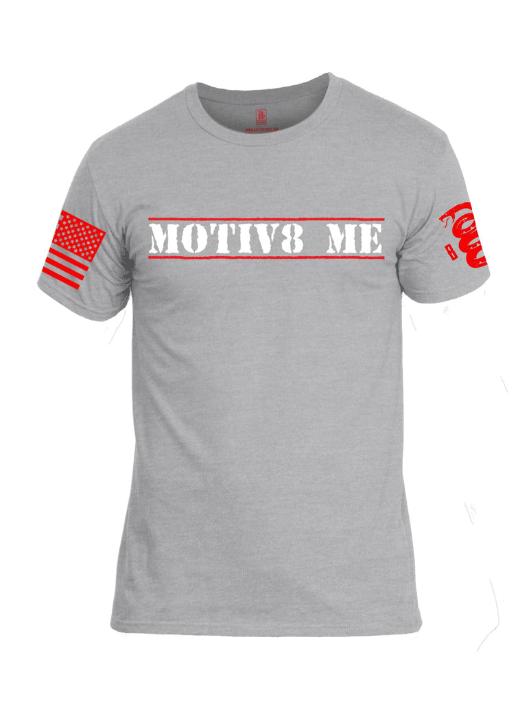 Battleraddle Motiv8 Me Red Sleeve Print Mens Cotton Crew Neck T Shirt
