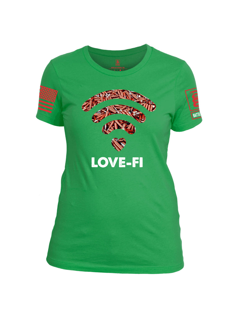 Battleraddle Love Fi Red Sleeve Print Womens Cotton Crew Neck T Shirt