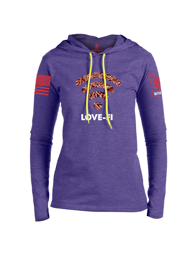 Battleraddle Love Fi Red Sleeve Print Womens Thin Cotton Lightweight Hoodie