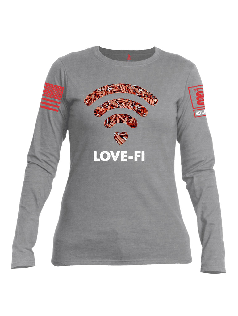 Battleraddle Love Fi Red Sleeve Print Womens Cotton Long Sleeve Crew Neck T Shirt