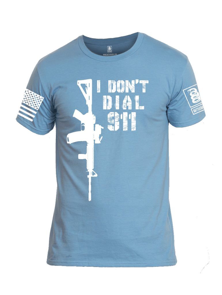 Battleraddle I Dont Dial 911 White Sleeve Print Mens Cotton Crew Neck T Shirt
