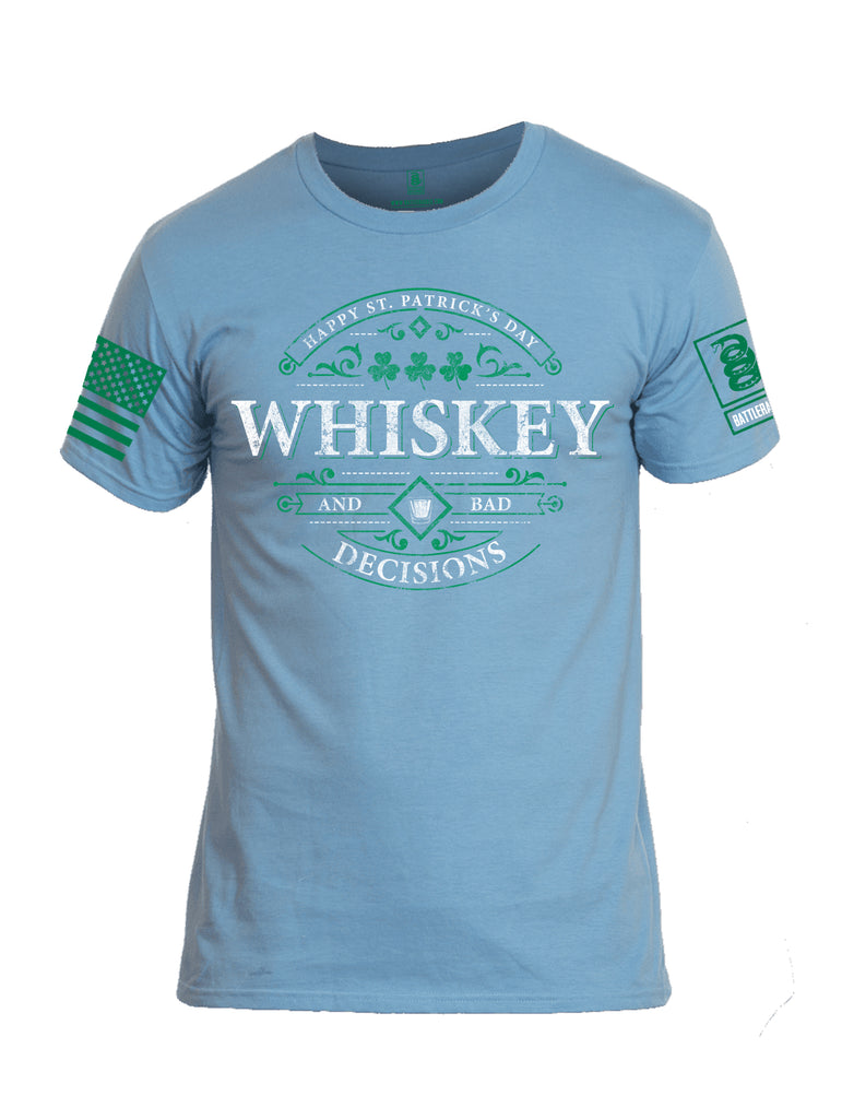 Battleraddle Happy ST. Patrick's Day Whiskey And Bad Decisions Green Sleeve Print Mens Cotton Crew Neck T Shirt