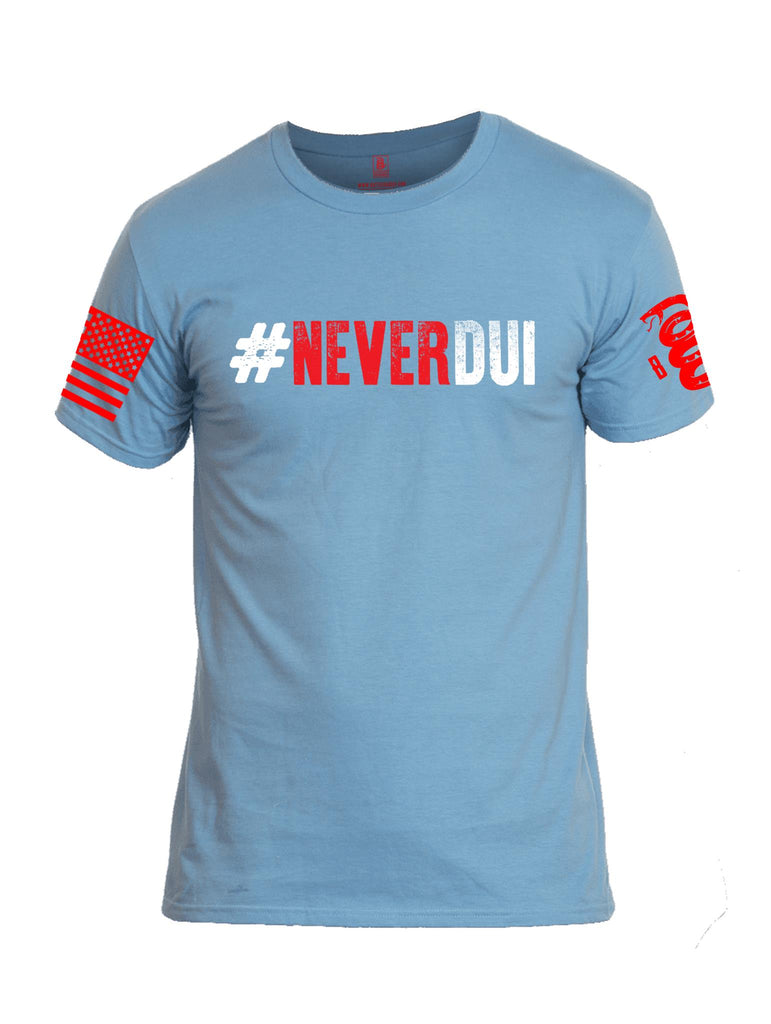 Battleraddle #NeverDUI Red Sleeve Print Mens Cotton Crew Neck T Shirt - Battleraddle® LLC