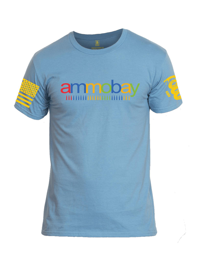 Battleraddle AMMOBAY Yellow Sleeve Print Mens Cotton Crew Neck T Shirt - Battleraddle® LLC