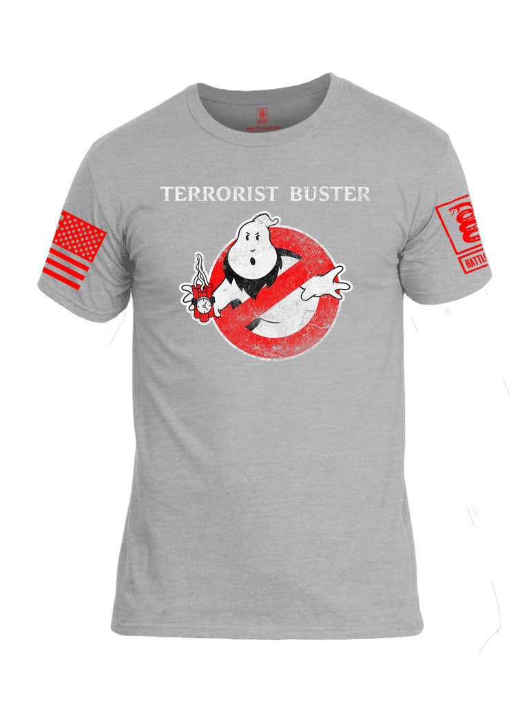 Battleraddle Terrorist Buster V1 Red Sleeve Print Mens Cotton Crew Neck T Shirt
