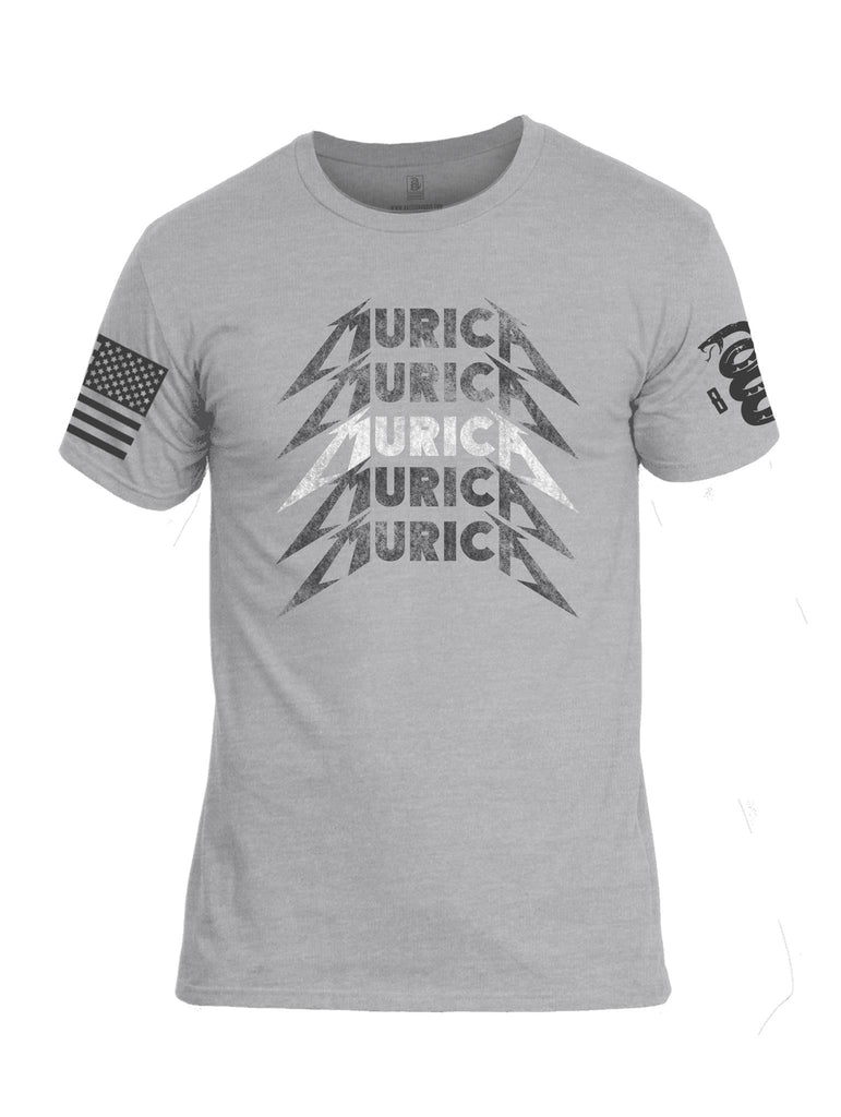 Battleraddle Murica V2 Grey Sleeve Print Mens Cotton Crew Neck T Shirt