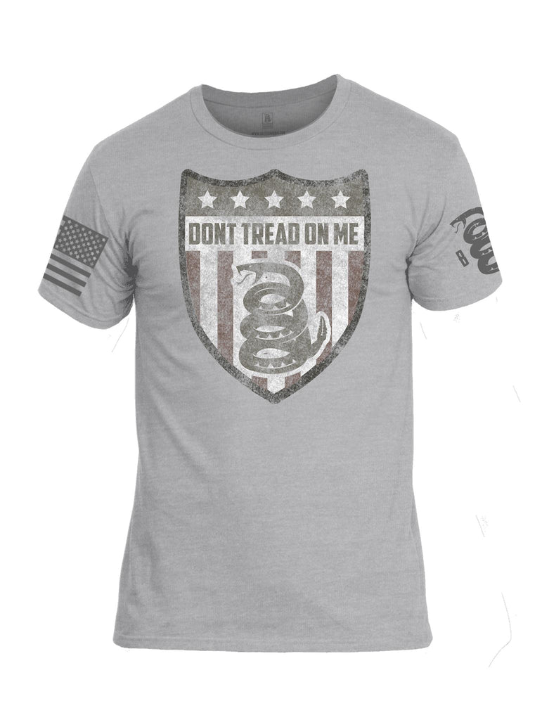Battleraddle Don't Tread On Me 5 Star Snake Flag Grey Sleeve Print Mens Cotton Crew Neck T Shirt