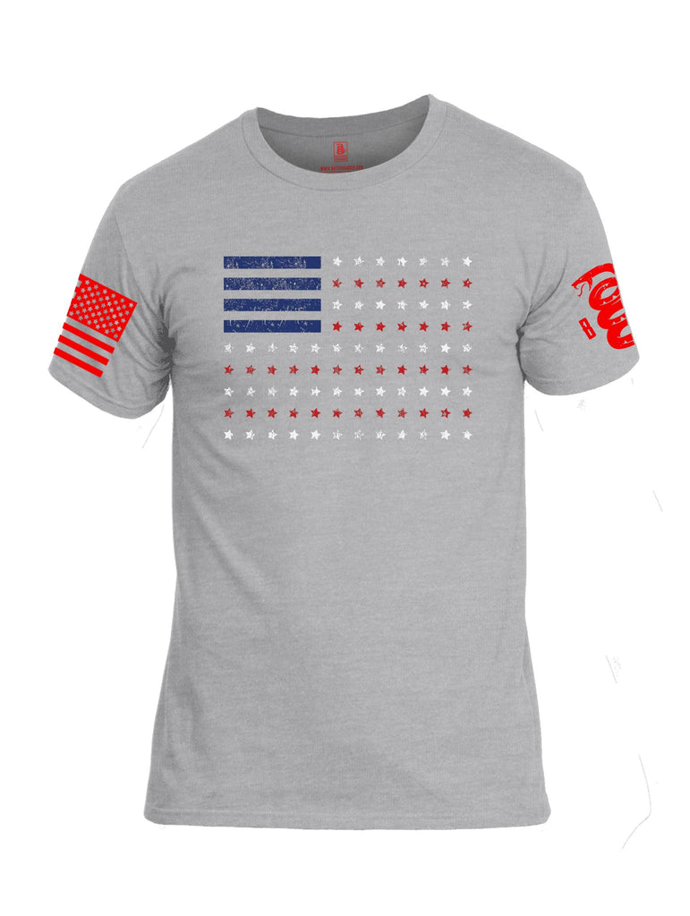 Battleraddle Horizontal Four Blocks Flag Red Sleeve Print Mens Cotton Crew Neck T Shirt